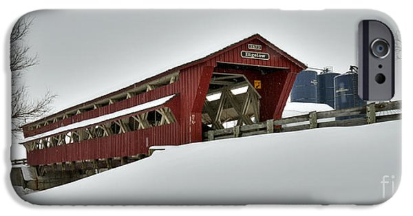 Covered Bridge iPhone Cases - Snowy Bigelow Covered Bridge 1873 iPhone Case by Brian Mollenkopf