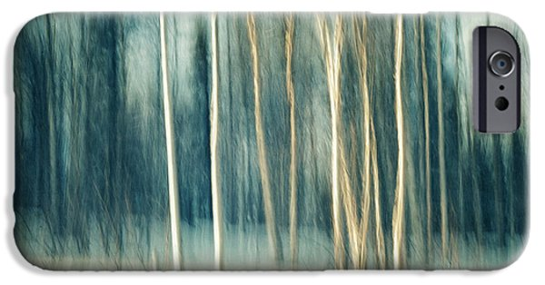 Abstractions iPhone Cases - Snowy birch grove iPhone Case by Priska Wettstein