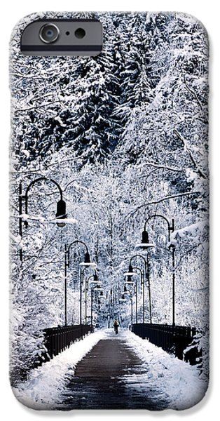 Germany iPhone Cases - Snowy bridge iPhone Case by Jorge Maia