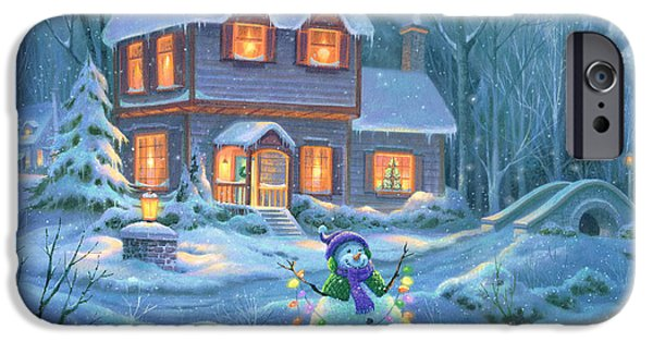 Steps Paintings iPhone Cases - Snowy Bright Night iPhone Case by Michael Humphries