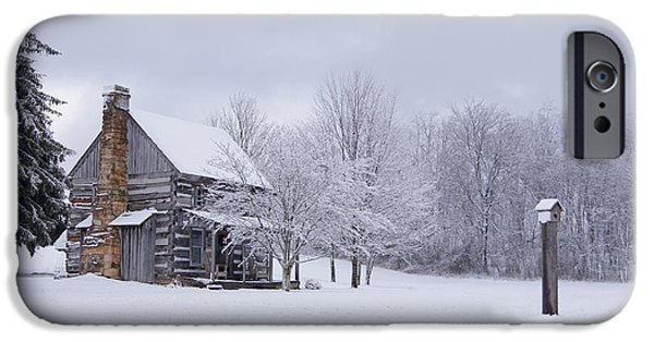 Rural Snow Scenes iPhone Cases - Snowy Cabin iPhone Case by Benanne Stiens