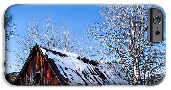 Haybale iPhone Cases - Snowy Cabin iPhone Case by Robert Bales
