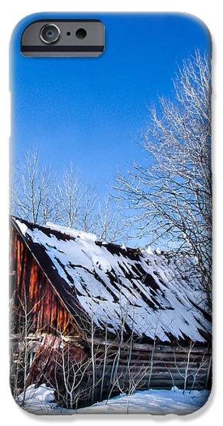 Snowy Cabin iPhone Case by Robert Bales