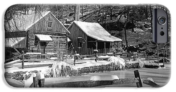 Grist Mill iPhone Cases - Snowy Cabins in Black and White iPhone Case by Paul Ward