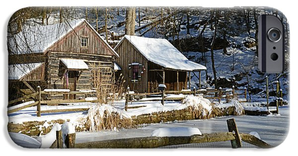 Grist Mill iPhone Cases - Snowy Cabins iPhone Case by Paul Ward