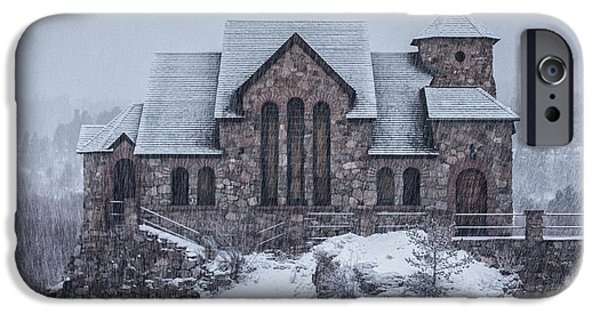 Winter Scene iPhone Cases - Snowy Church iPhone Case by Darren  White