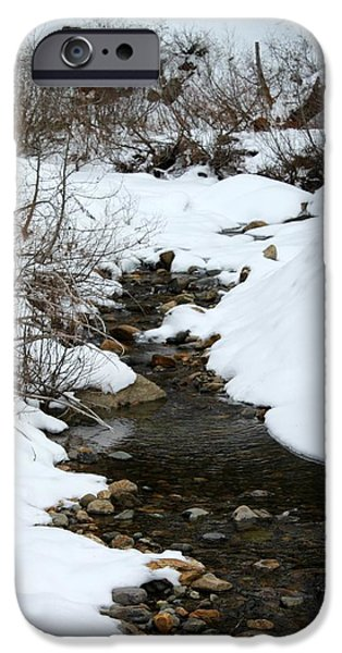 Creek Pyrography iPhone Cases - Snowy Creek iPhone Case by Matthew Farmer