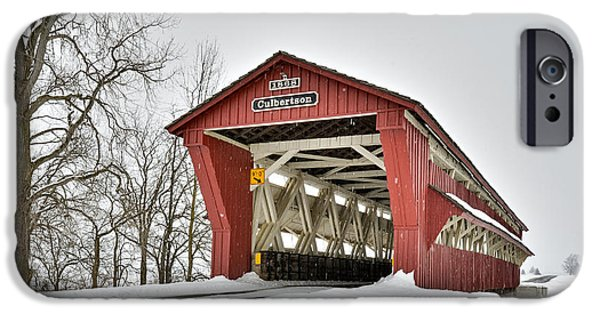Covered Bridge iPhone Cases - Snowy Culbertson Covered Bridge 1868 iPhone Case by Brian Mollenkopf