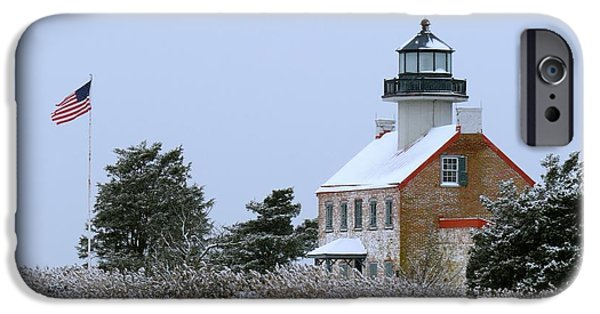 Flag iPhone Cases - Snowy Day at East Point Lighthouse iPhone Case by Nancy Patterson