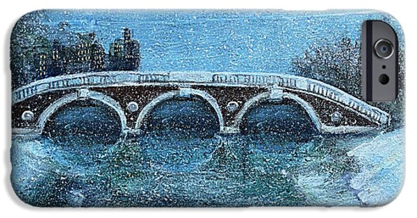 Cambridge Paintings iPhone Cases - Snowy Day in Cambridge MA iPhone Case by Rita Brown