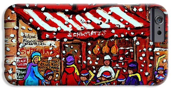 Delicatessans iPhone Cases - Snowy Day Montreal Paintings Schwarts Deli Smoked Meat After The Hockey Game Carole Spandau Art iPhone Case by Carole Spandau