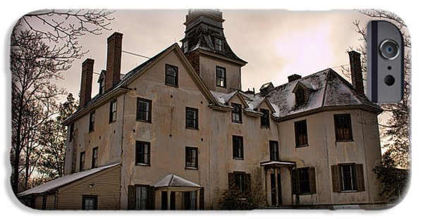 American Revolution iPhone Cases - Snowy Evening at Batsto Mansion iPhone Case by Kristia Adams