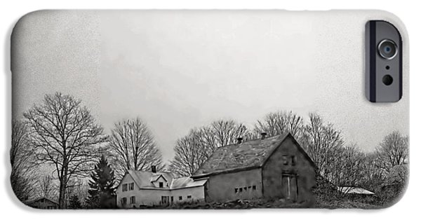 Snowy Day iPhone Cases - Snowy Farm BW iPhone Case by Catherine Melvin