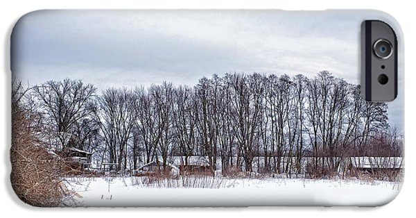 New England Farm iPhone Cases - Snowy Farm iPhone Case by HD Connelly