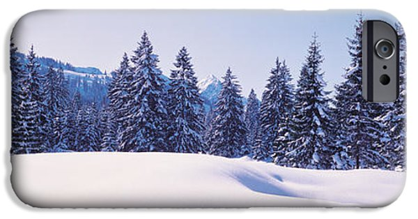 Snowy Day iPhone Cases - Snowy Field & Trees Oberjoch Germany iPhone Case by Panoramic Images
