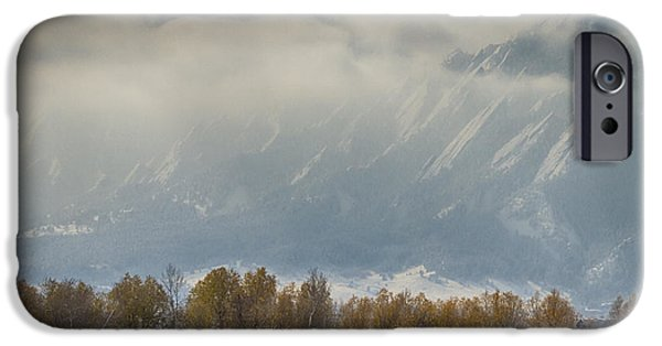 Snowy Day iPhone Cases - Snowy Flatiron View Boulder Colorado iPhone Case by James BO  Insogna