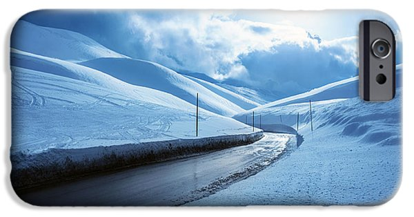 Asphalt iPhone Cases - Snowy highway iPhone Case by Anna Omelchenko
