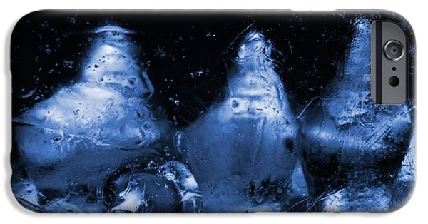 Snowy Night Digital iPhone Cases - Snowy Ice Bottles - Blue iPhone Case by Sami Tiainen