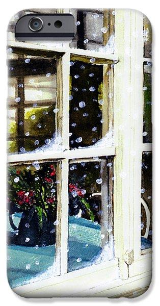 Old Pitcher Paintings iPhone Cases - Snowy Inn Window iPhone Case by Deborah Burow