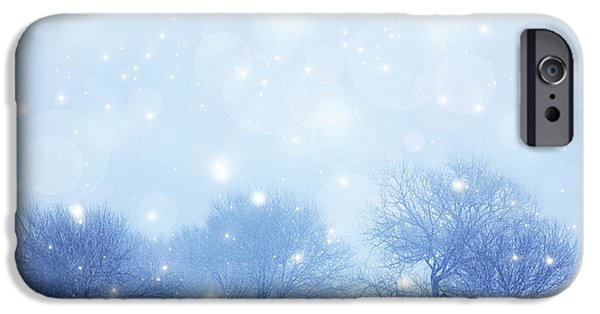 Snowy Day iPhone Cases - Snowy landscape iPhone Case by Anna Omelchenko