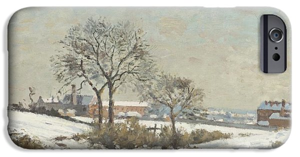 Pissarro iPhone Cases - Snowy Landscape at South Norwood iPhone Case by Camile Pissarro