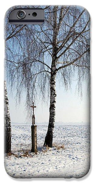 Wayside Cross iPhone Cases - Snowy Landscape With Birches And Wayside Cross iPhone Case by Karin Stein