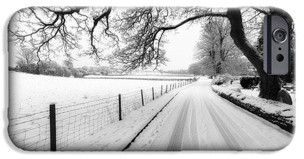 Snowy Digital iPhone Cases - Snowy Lane iPhone Case by Adrian Evans