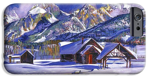 Snow Scene iPhone Cases - Snowy Log Cabin iPhone Case by David Lloyd Glover