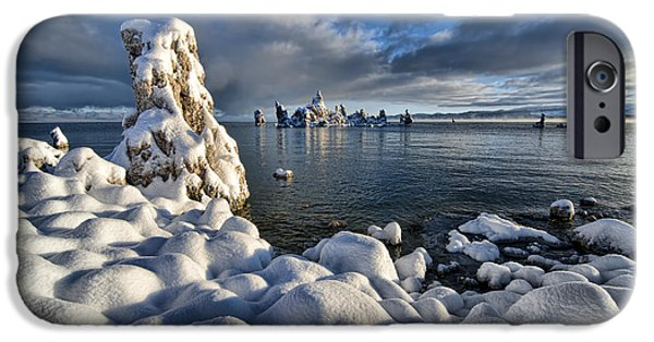 Calcium Carbonate iPhone Cases - Snowy Mono Lake iPhone Case by Peter Dang