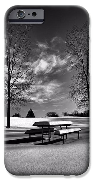 Winter Morning iPhone Cases - Snowy Morning In Black And White iPhone Case by Dan Sproul