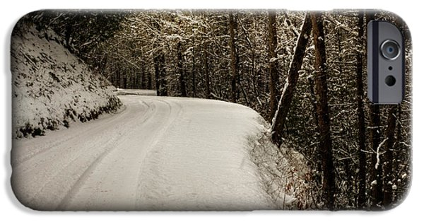 Snowy Day iPhone Cases - Snowy Mountain Road Square iPhone Case by Chrystal Mimbs