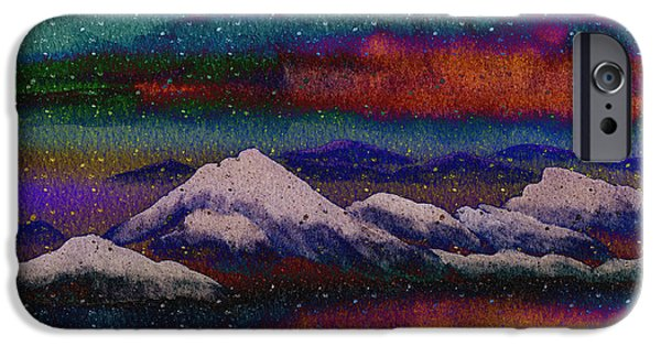 Snowy Night Mixed Media iPhone Cases - Snowy Mountains on a Colorful Winter Night iPhone Case by Beverly Claire Kaiya