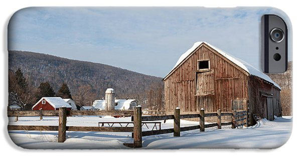 New England Snow Scene iPhone Cases - Snowy New England Barns iPhone Case by Bill  Wakeley