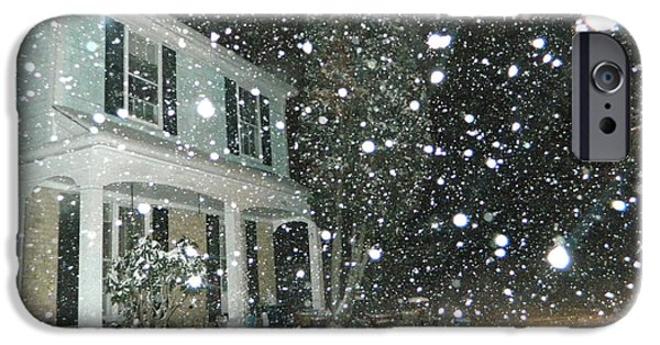 Snowy Night Digital iPhone Cases - Snowy Night In Maryland iPhone Case by Emmy Marie Vickers