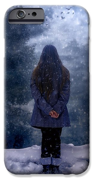 Snowy Evening iPhone Cases - Snowy Night iPhone Case by Joana Kruse