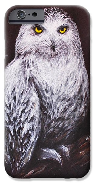 Snowy Night Drawings iPhone Cases - Snowy Owl in the Night iPhone Case by Patricia Lintner