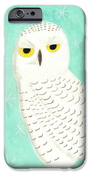 Snowy Pastels iPhone Cases - Snowy Owl iPhone Case by Jessica Foster