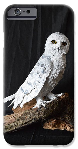 Snowy Sculptures iPhone Cases - Snowy Owl iPhone Case by Renee Erickson