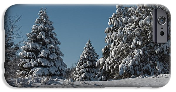 Snow iPhone Cases - Snowy Pines iPhone Case by Jeff Swanson