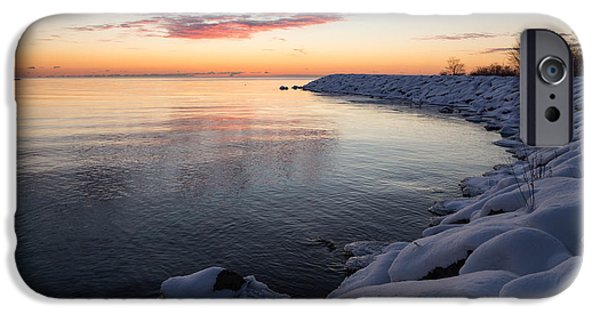 Snowbank iPhone Cases - Snowy Pink Dawn on the Lake iPhone Case by Georgia Mizuleva