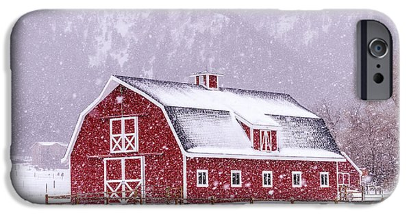 Snowy Day iPhone Cases - Snowy Red Barn iPhone Case by Teri Virbickis