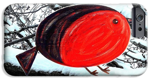 Miracle Mixed Media iPhone Cases - Snowy Red Robin iPhone Case by Patrick J Murphy