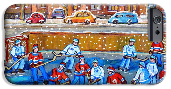 Streets Of Montreal iPhone Cases - Snowy Rink Hockey Game Montreal Memories Winter Street Scene Painting Carole Spandau iPhone Case by Carole Spandau