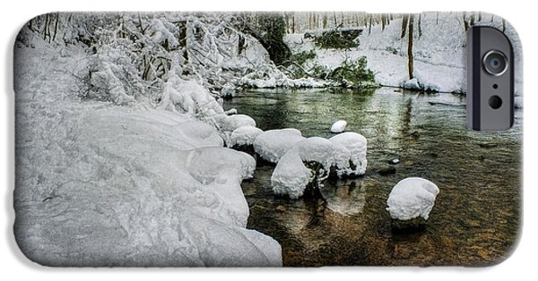 Wintertime iPhone Cases - Snowy River Bank iPhone Case by Ian Mitchell
