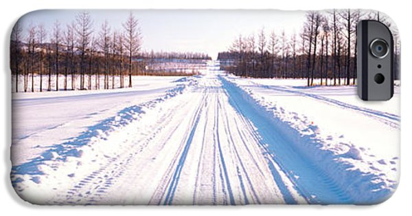 Snowy Day iPhone Cases - Snowy Road Hokkaido Shari-cho Japan iPhone Case by Panoramic Images