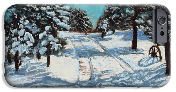 Snowy Day Pastels iPhone Cases - Snowy Road Home iPhone Case by Mary Benke