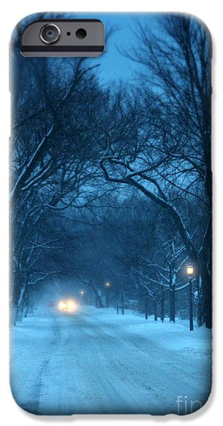 Snowy Night iPhone Cases - Snowy Road on a Winter Evening iPhone Case by Jill Battaglia