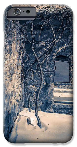 Ruin iPhone Cases - Snowy Ruins at night iPhone Case by Edward Fielding