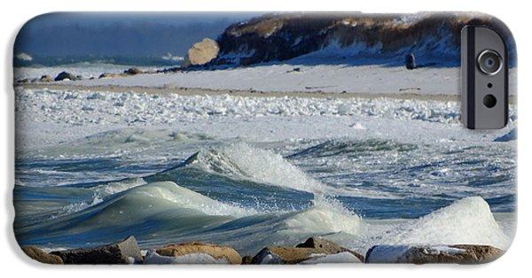 Harbor Sesuit Harbor iPhone Cases - Snowy Seashore iPhone Case by Dianne Cowen