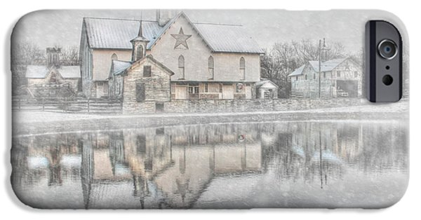 Wintry Digital iPhone Cases - Snowy Star Barn iPhone Case by Lori Deiter